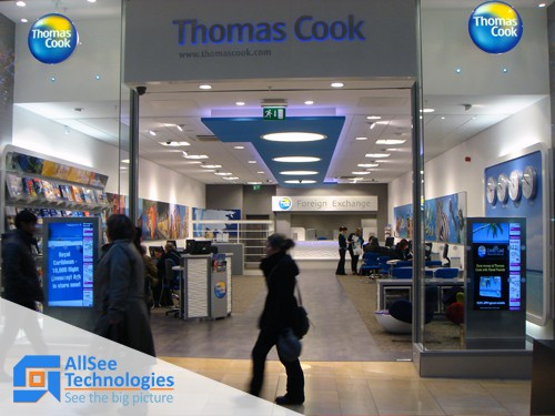 46 inch Freestanding Digital Poster Thomas Cook