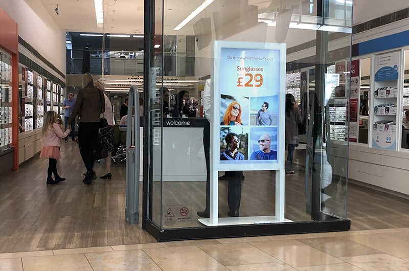 Freestanding Ultra High Brightness Digital Poster in the window display of an opticians
