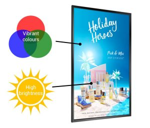 High Brightness Display labelled with 'vibrant colours' and 'high brightness'