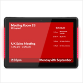 "10"" POS display with meeting room booking content on screen"