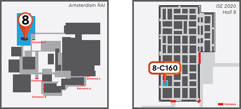 Map of ISE 2020 showing location of Hall 8 and Stand 8-C160