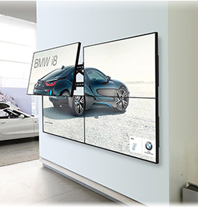 2x2 Video Wall with one screen extending away from the wall via our Pop-Out Video Wall Mount