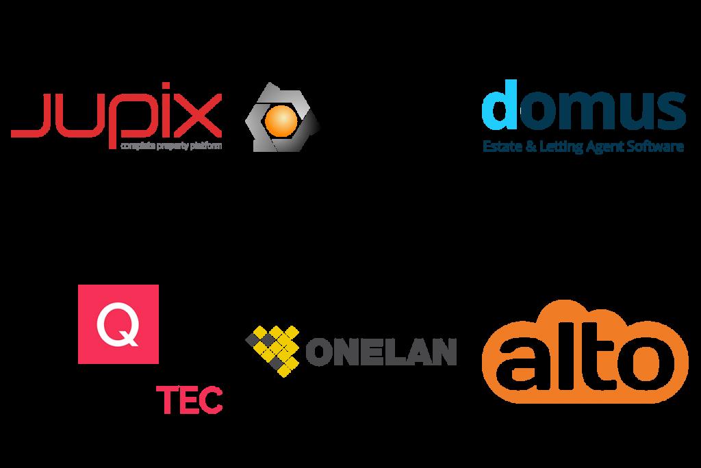 Jupix, Vebra, Domus, Quantatec, Onelan, Alto logos
