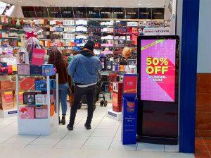 Freestanding Digital Posters in retail shop