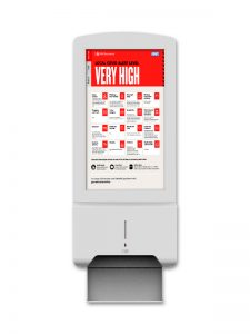 Hand Sanitiser Display on White Background showing Tier Content