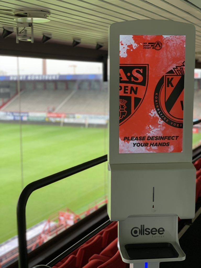 Hand Sanitiser Advertising Display at KVK Football Stadium