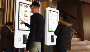 PCAP Self Service Kiosk at fast food restaurant