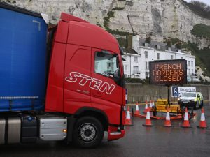 Lorries Stopped at Dover Due to COVID-19 Border Closures