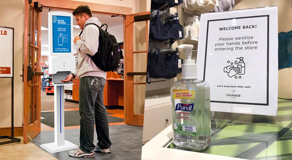 Hand Sanitiser Advertising Display on left vs. pump on right