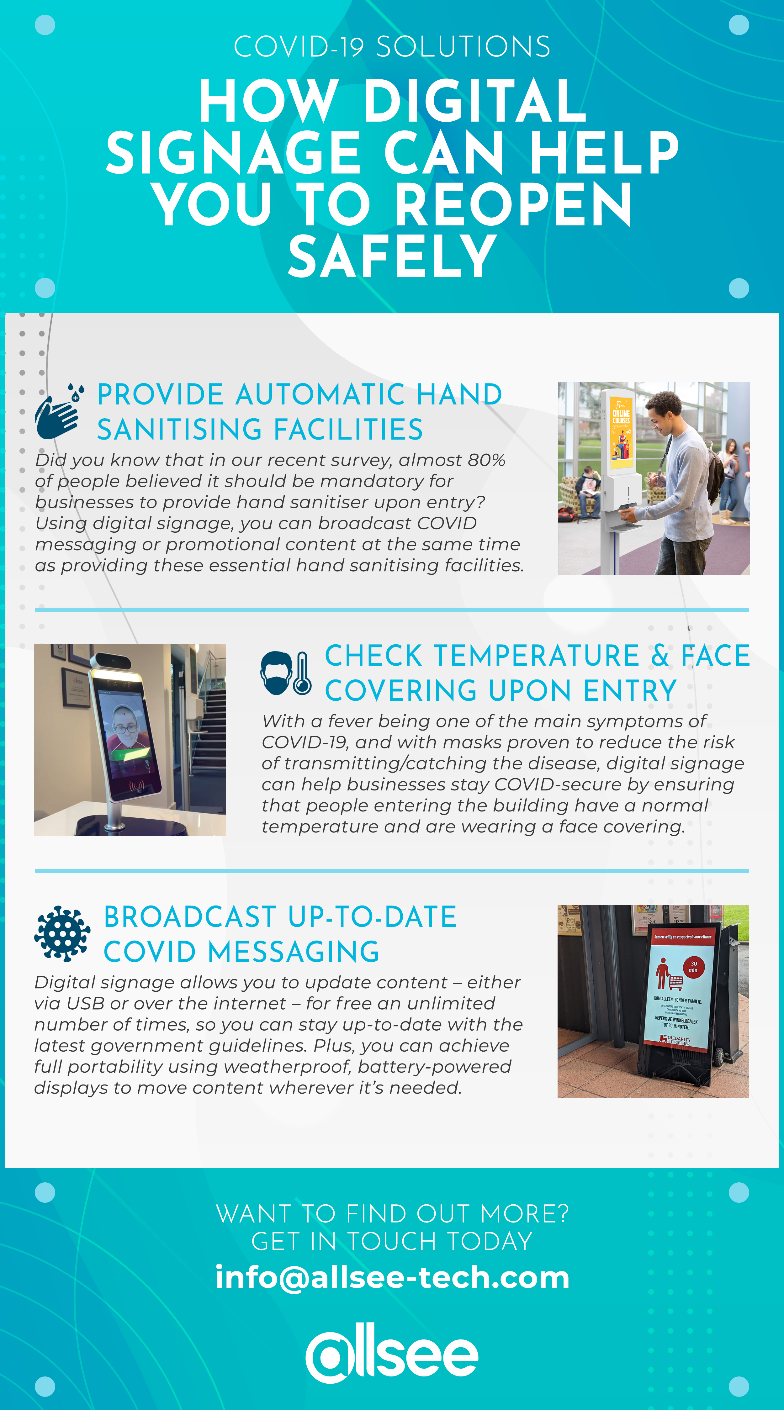 'How Digital Signage Can Help You to Reopen Safely' infographic