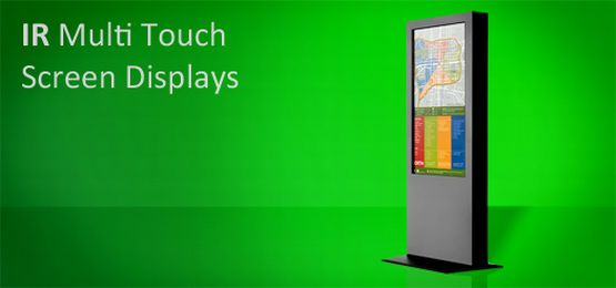 Freestanding multi touch screen display banner