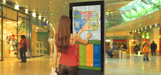 Freestanding multi touch screen display design