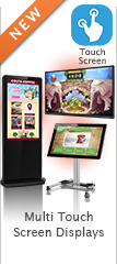 wall mounted free standing kiosk multi touch screen display content
