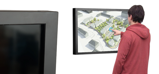 wall mounted multi touch screen display pointer