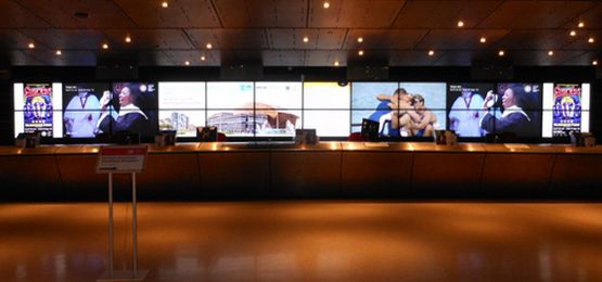 Large LCD Video Wall reception area